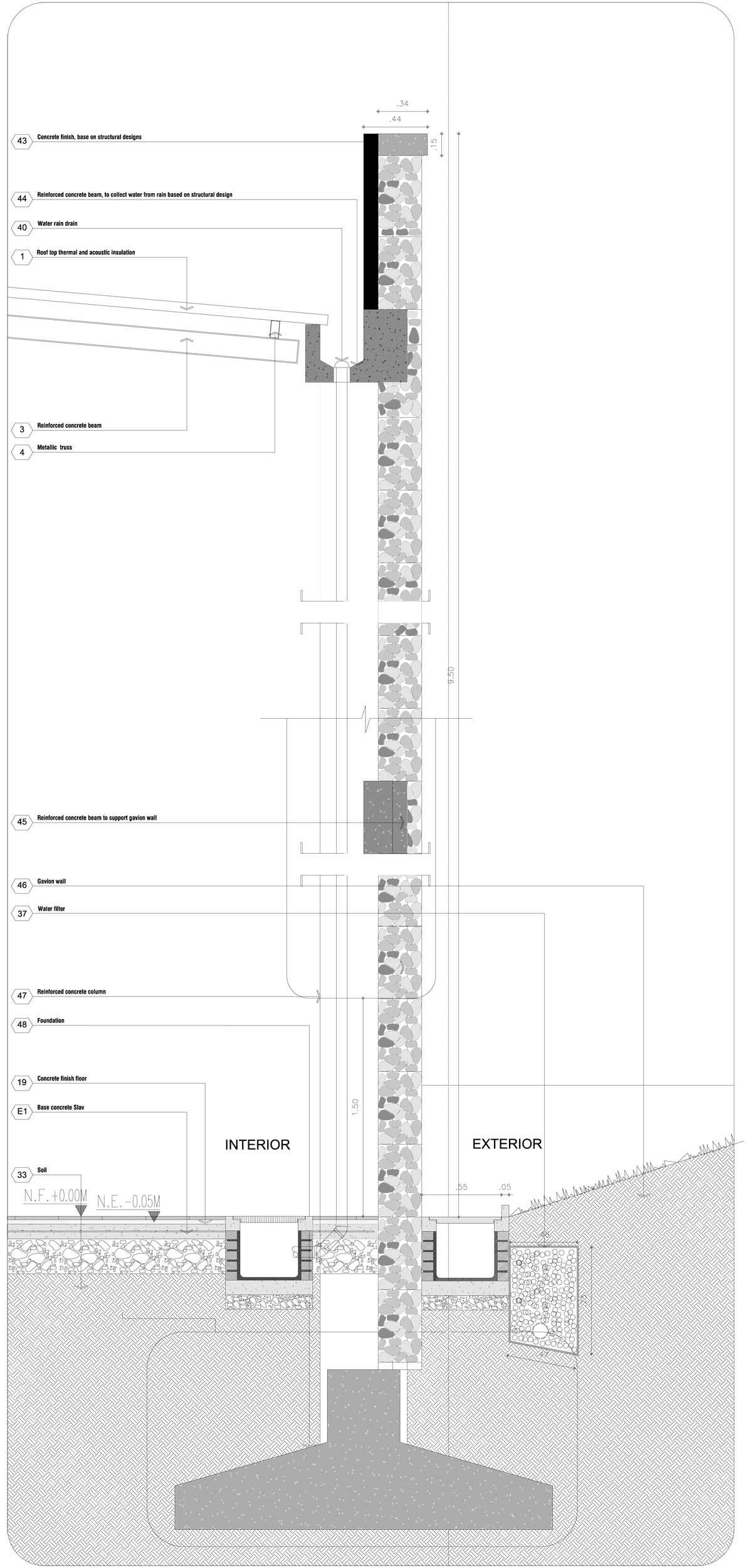 Gabion Wall Design Drawings : Villanueva s public library meza pi?ol ram?rez