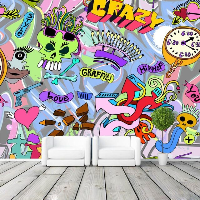3d wallpaper graffiti boys urban art photo wallpaper for Boys mural wallpaper