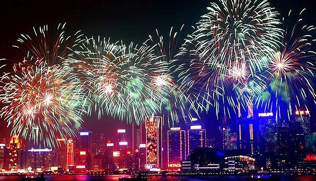 2014 chinese new year fireworks on victoria harbor hong kong