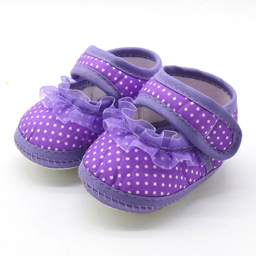 Voberry Baby Girls Lace up Prewalker Soft Sole Non-Slip Cotton Sneaker