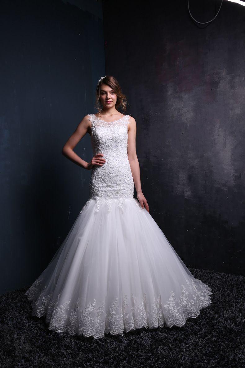 Click to buy ucuc elegant mermaid wedding dresses beads appliques