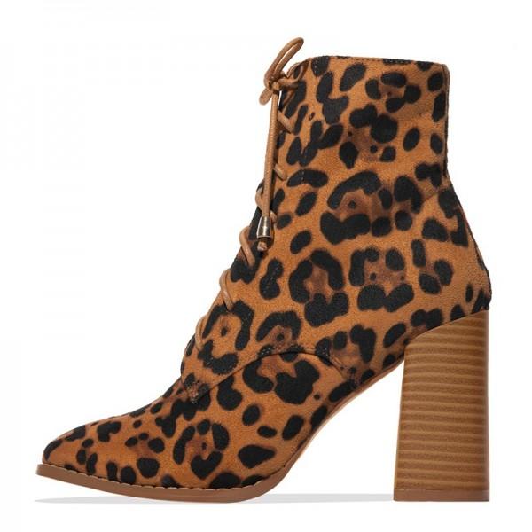 leopard print chunky heel boots