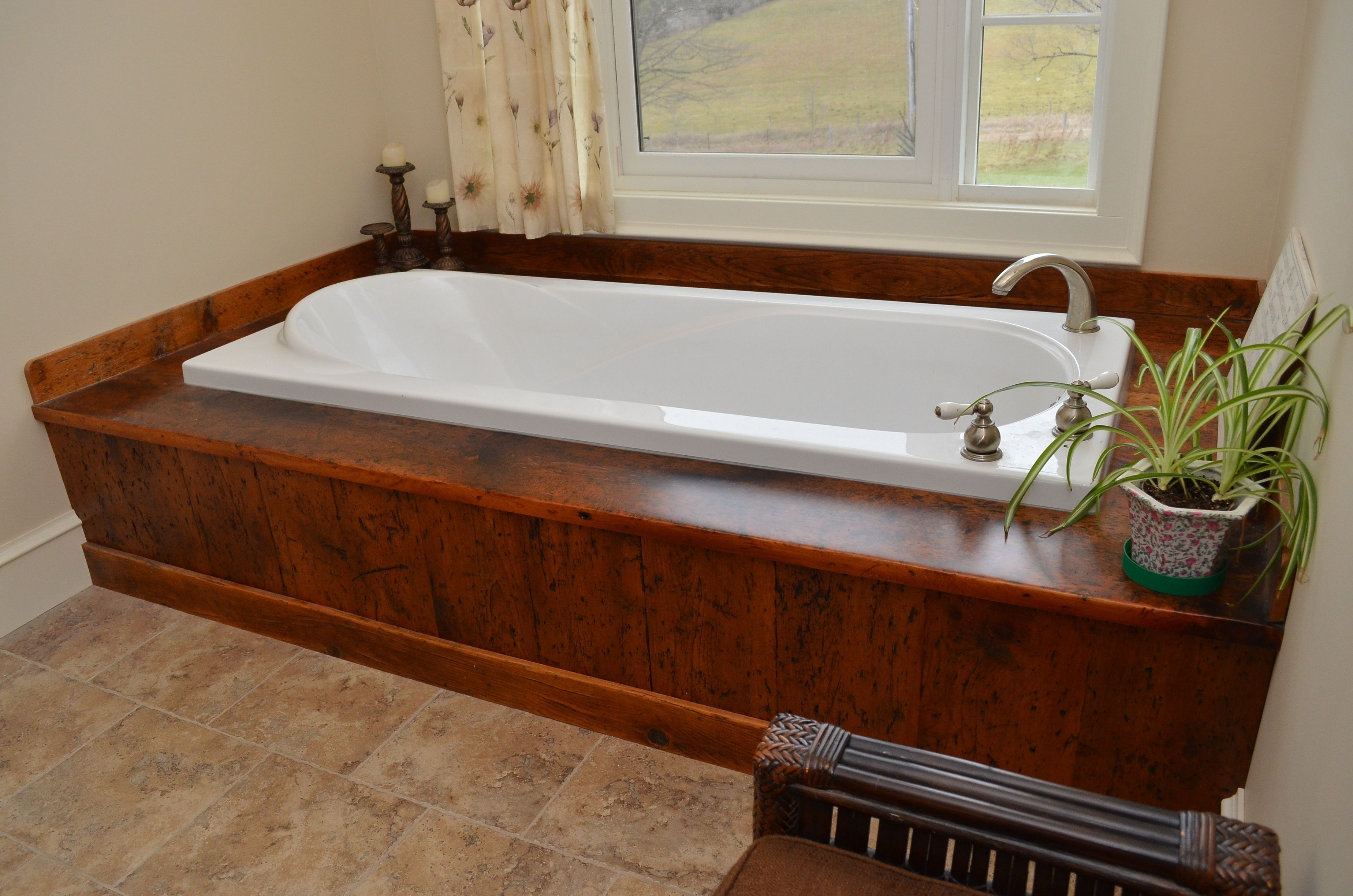 Reclaimed Pine Bath Tub Surround with Epoxy Finish. Custom Made by ...