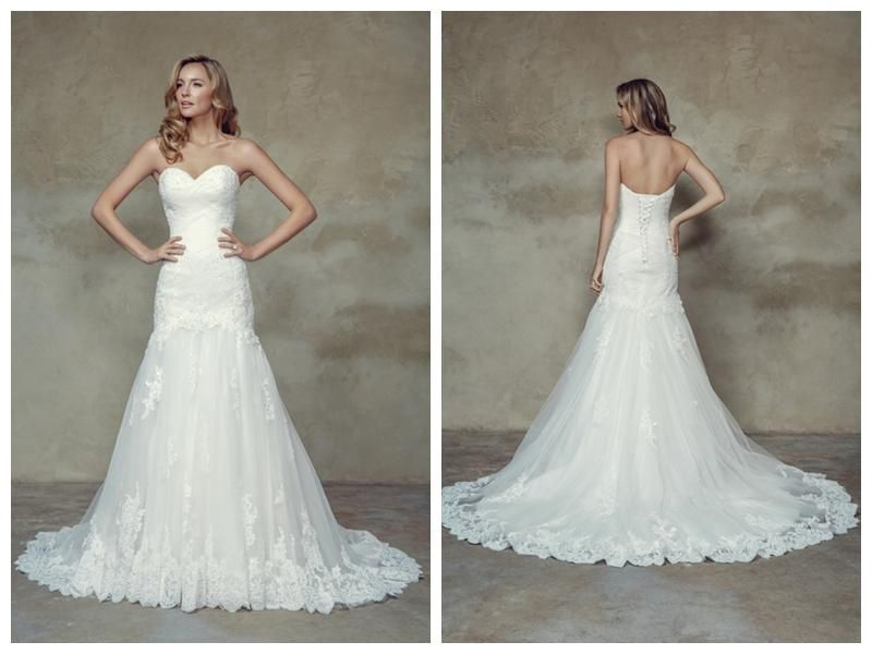2015 Sweetheart Pleats Mermaid Wedding Dress With Chapel Train Applique  Beading Lace Fit And Flare Wedding Gown Cheap Wedding Gowns Designer  Wedding Gowns ... 129a5aa96e8b