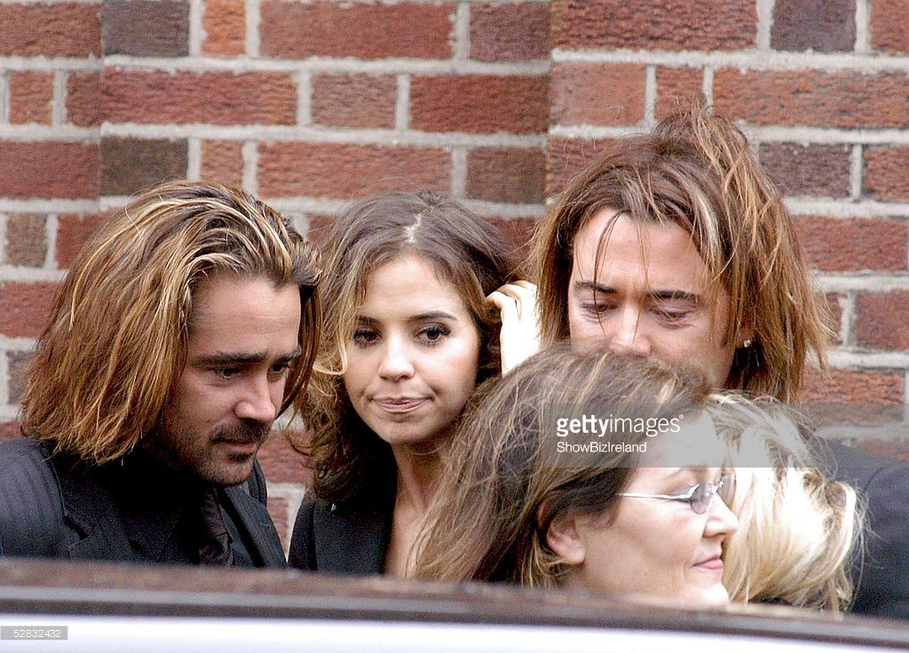 Actor Colin Farrell (L) and members of his family attend the funeral of his Grandfather James Monaghan at Our Lady of Good Counsel Church on Mourne Road, Drimnagh on May 16, 2005 Dublin, Ireland.