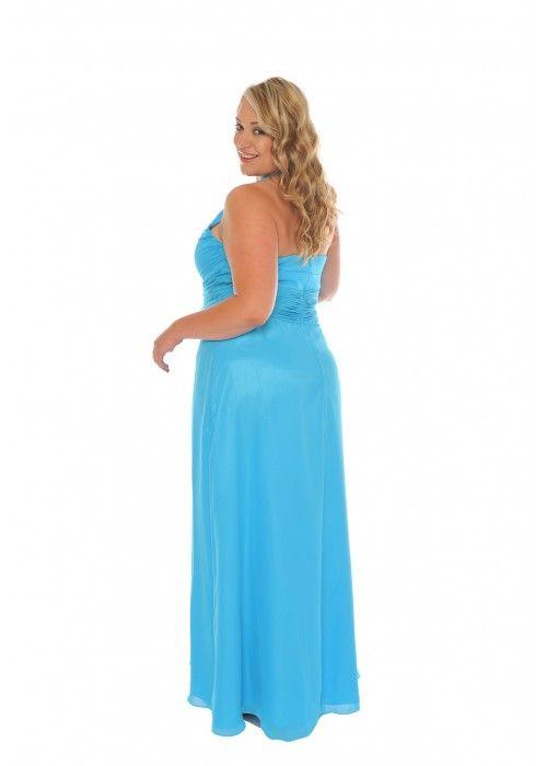 Edles Abendkleid mit Schal, XXL, Farbe blue topaz - Abendkleider ...