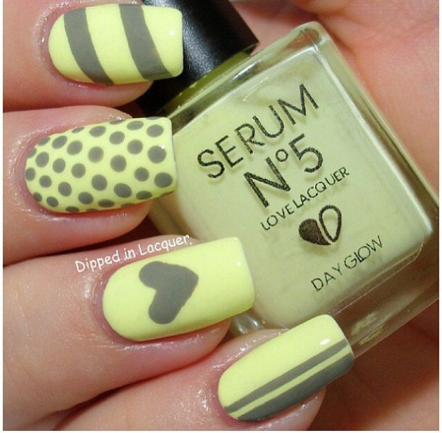 Gris amarillo | Uñas | Pinterest | Amarillo, Gris y Uña decoradas