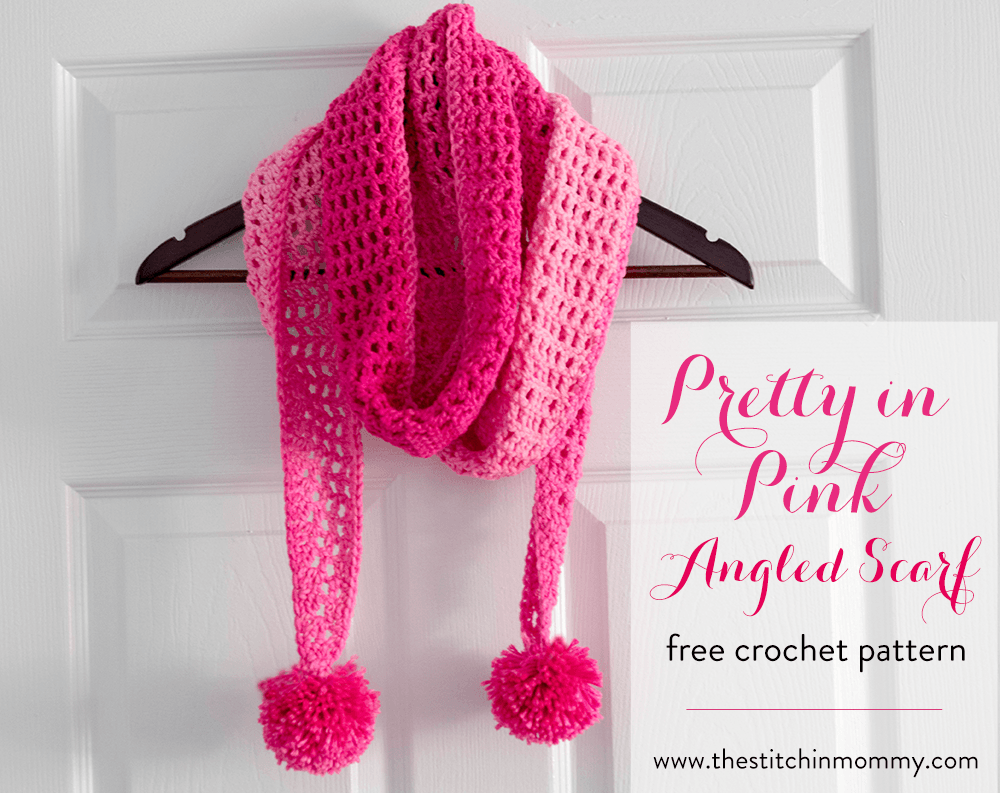 Pretty In Pink Angled Scarf - Free Crochet Pattern | Invierno