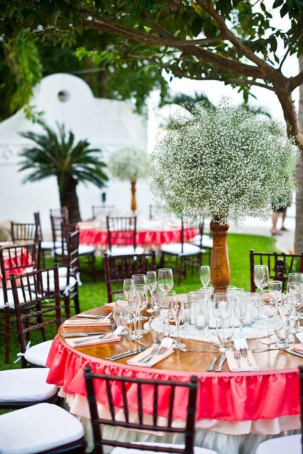 """ruffled ombre table """"skirt,"""" babys breath centerpiece, wooden round tables - www.thedazzlingdetails.com"""