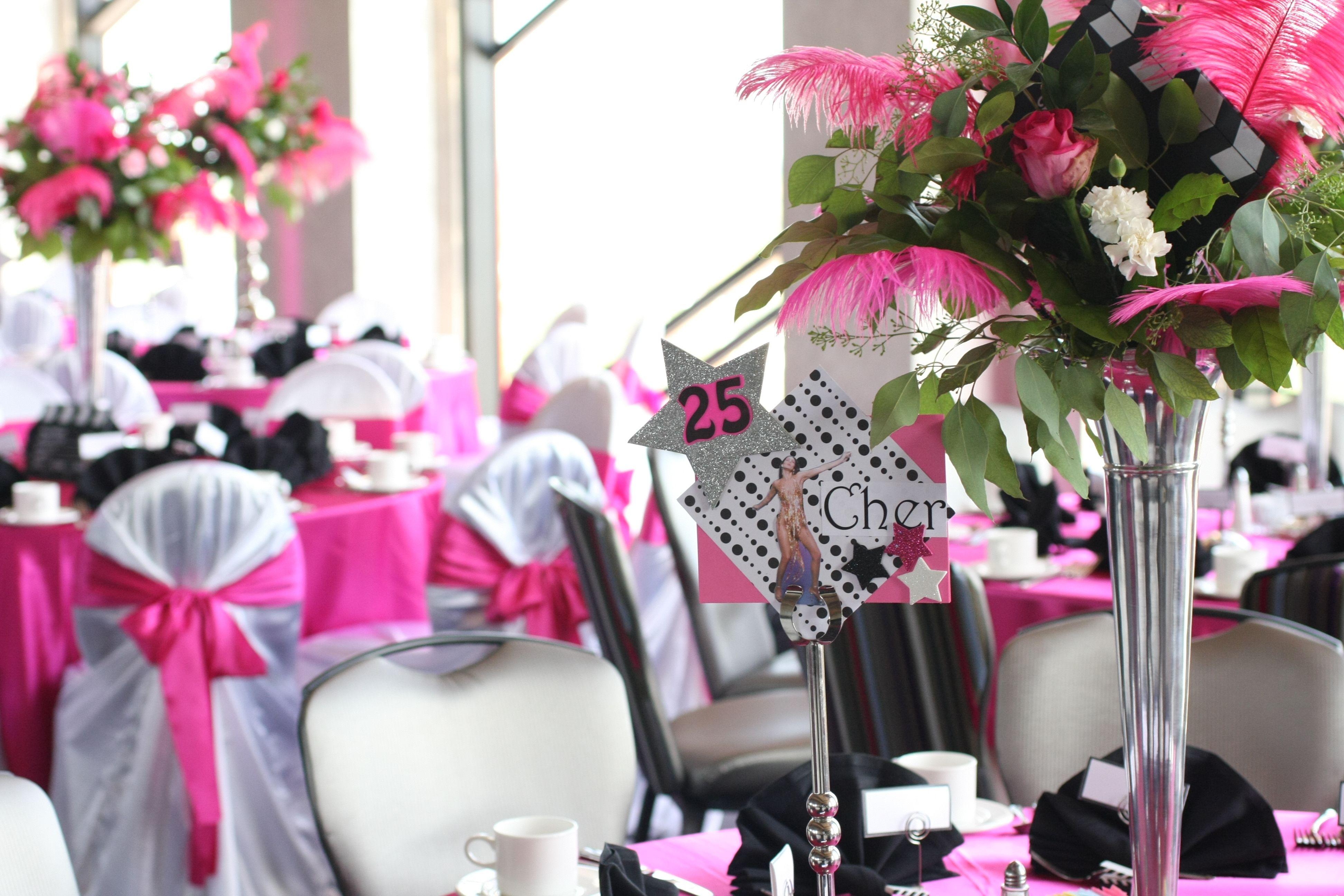Bat Mitzvah Pink Tables - Hollywood Theme   BKD   Pinterest ...