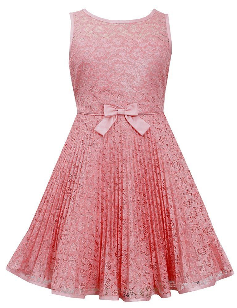 Big Girls Tween 7-16 Coral Crystal Pleat Lace Fit and Flare Social Dress