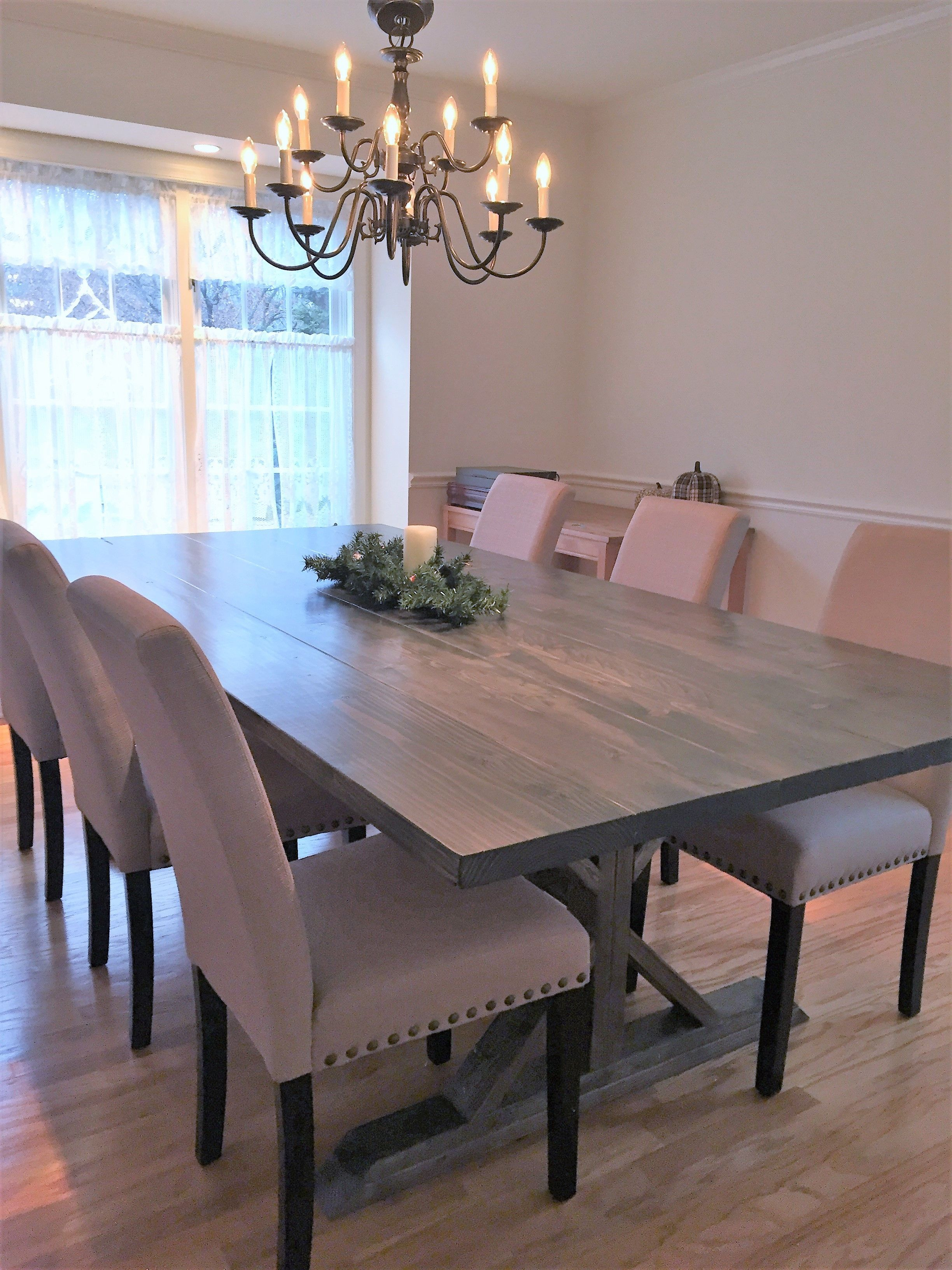 Custom made rustic farm trestle dining table with images