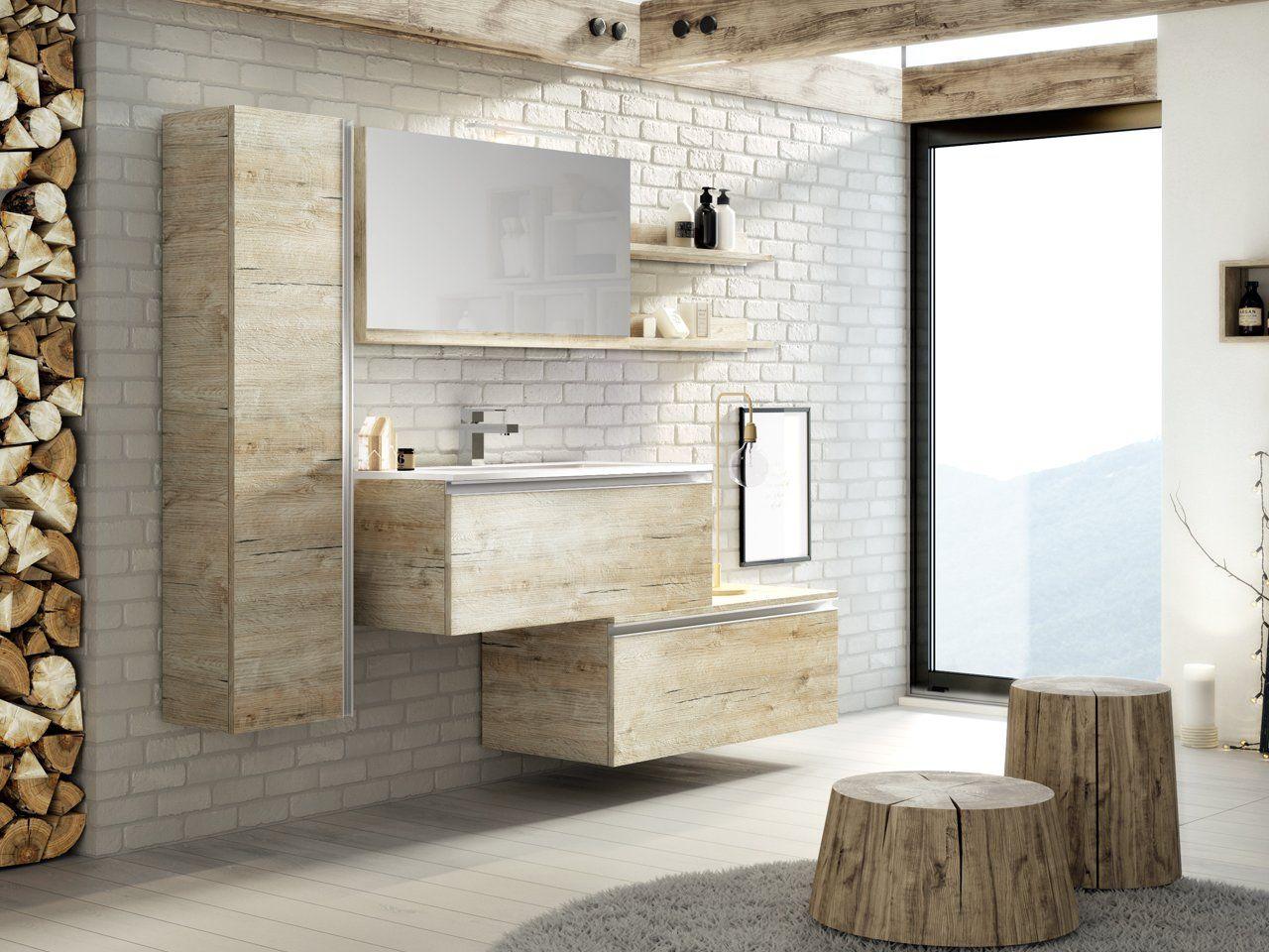 Smart mono natural oak con lavabo integrato mobilibagno