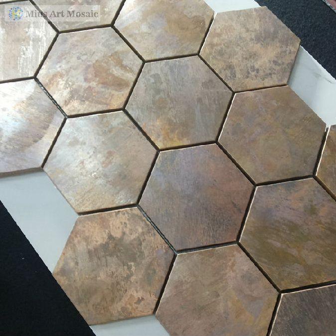 China Hexagonal Copper Wall Tile In Bronze Brushed For Kitchen Backsplash A6yb132 In Mosaics From Home I Copper Wall Tiles Kitchen Tiles Copper Tile Backsplash