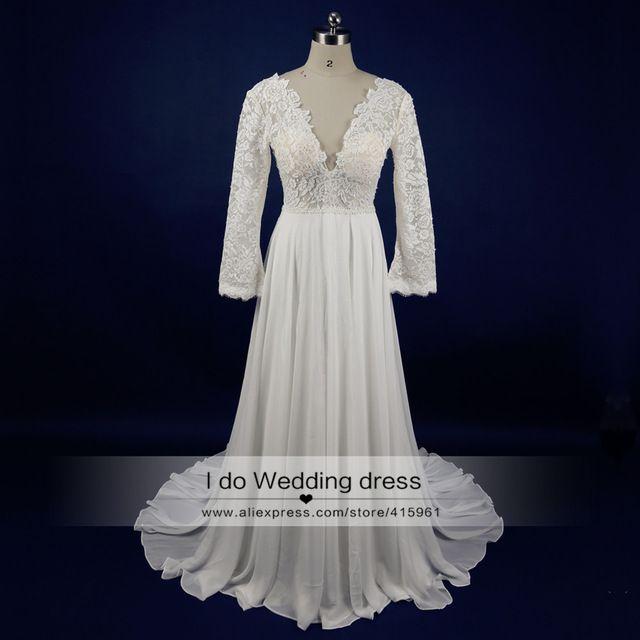 95467823de Beach Wedding Dress Bohemian Sexy Backless Lace Bridal Gown Long Sleeve  Pearls See Through V Neck Real Photos Summer Chiffon R23