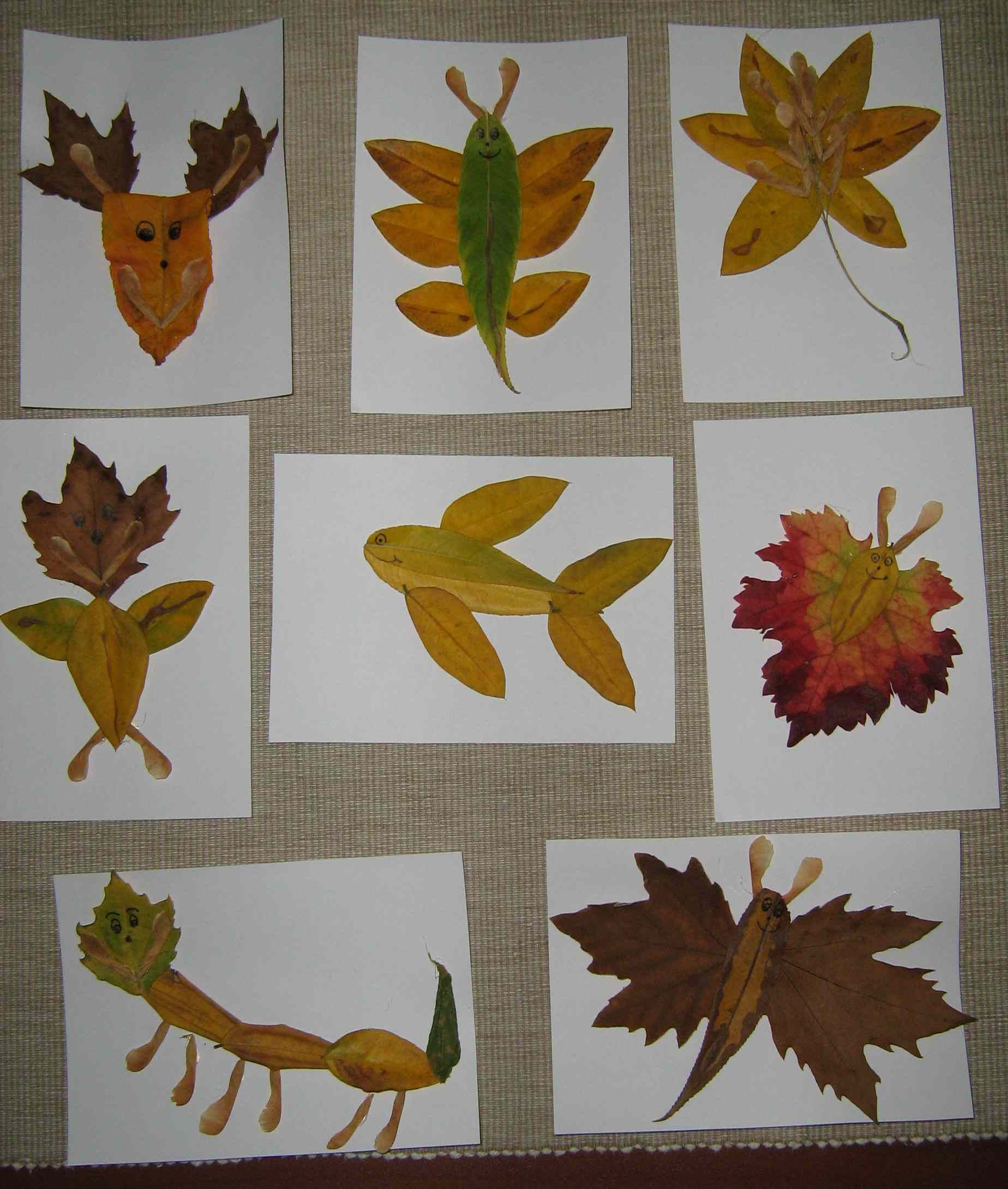 Making pictures with leaves craft re pinned by thriving for Herbstideen kindergarten