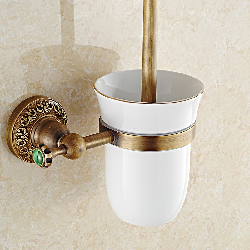 Clean A Bathroom Set classical solid brass toilet brush holders green stone toilet