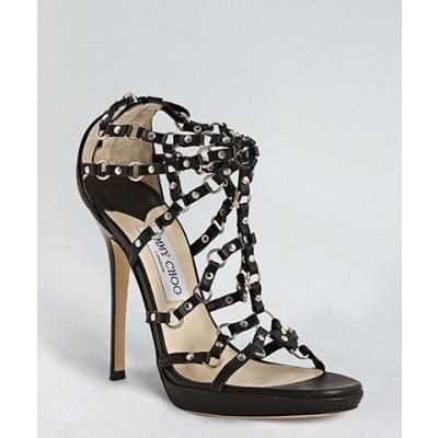 Women's Jimmy Choo black leather 'Liora' strappy studded stiletto sandals! #yeslawd