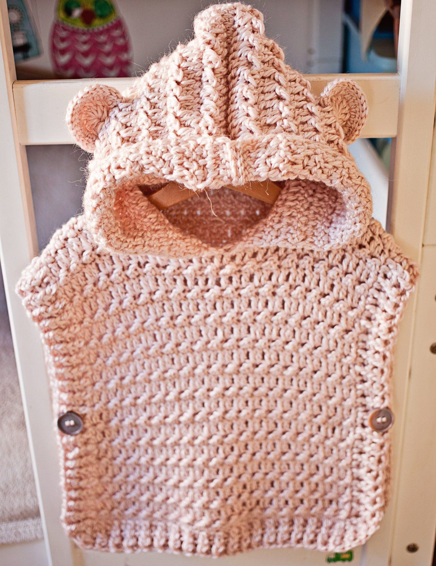 Crochet Hooded Poncho Pullover, pattern by Mon Petit Violon ...