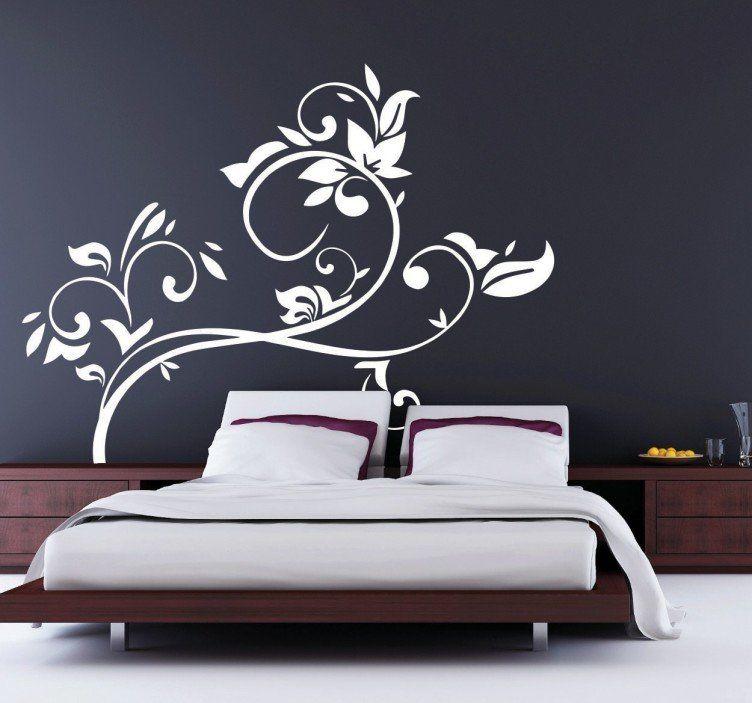 Vinilo decorativo ramificaciones florales wall for Decorare muro stanza