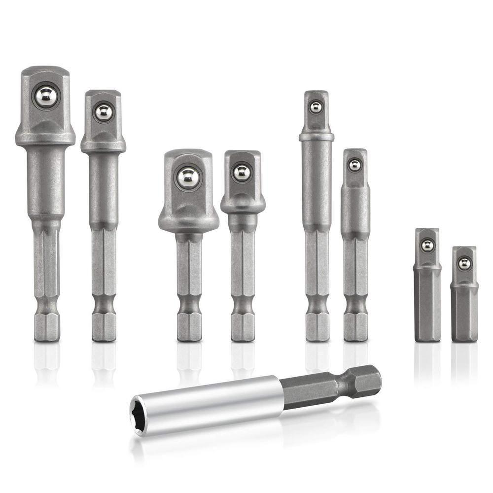 Neiko 00257 Socket Adapter Drill Extension Bit Set 9 Piece Cr V Hex Shank Unbranded Sockets Bar Set Drill