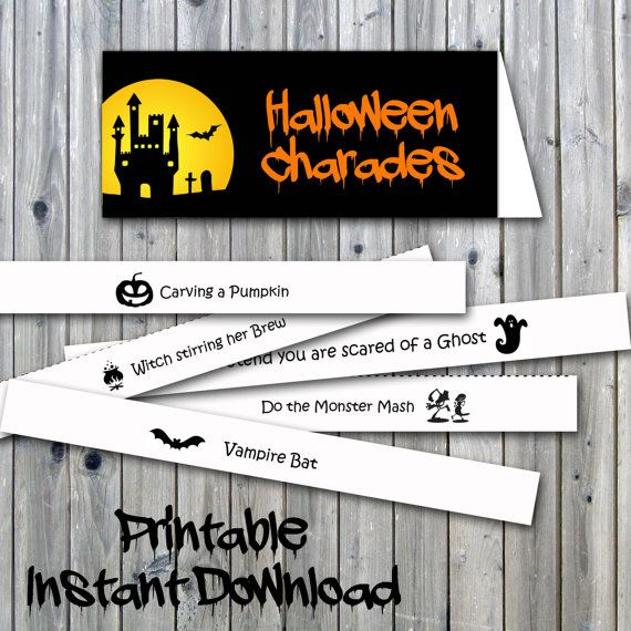 graphic regarding Halloween Charades Printable named Halloween Charades Printable PDF Bash Activity, final second