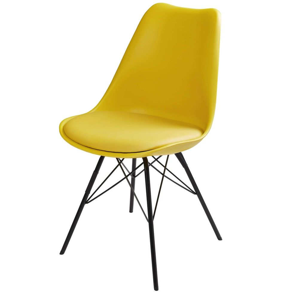 chaise jaune et pieds en m tal noir coventry maisons du monde 8 coloris chaise. Black Bedroom Furniture Sets. Home Design Ideas