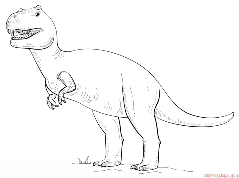 How To Draw Tyrannosaurus Rex Step By Step Dinosaur Coloring Pages Dog Coloring Book Coloring Pages