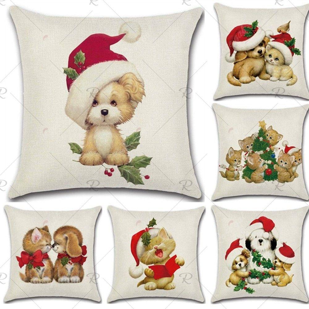 Christmas cotton linen cat sofa car home waist cushion cover throw