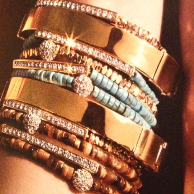 Love love love Michael Kors Swarovski bracelets stacked via Nordstroms