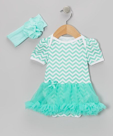 Teal Zigzag Skirted Bodysuit & Headband - Infant