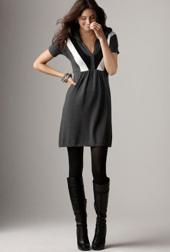 Sweater dress, tights, and tall black boots. | Yes! | Pinterest ...