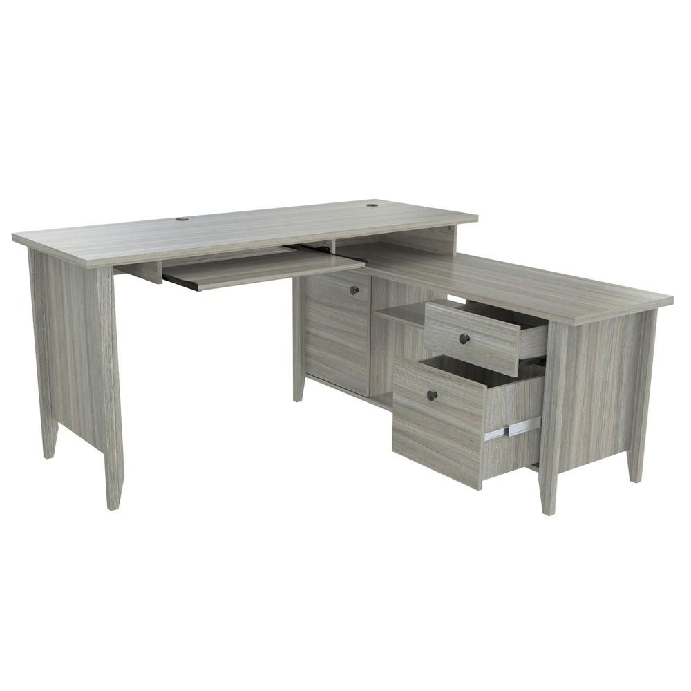 Inval 59 In Smoke Oak L Shaped 2 Drawer Computer Desk With Keyboard Tray Et 3915 The Home Depot Desk Desk With Keyboard Tray Grey Desk