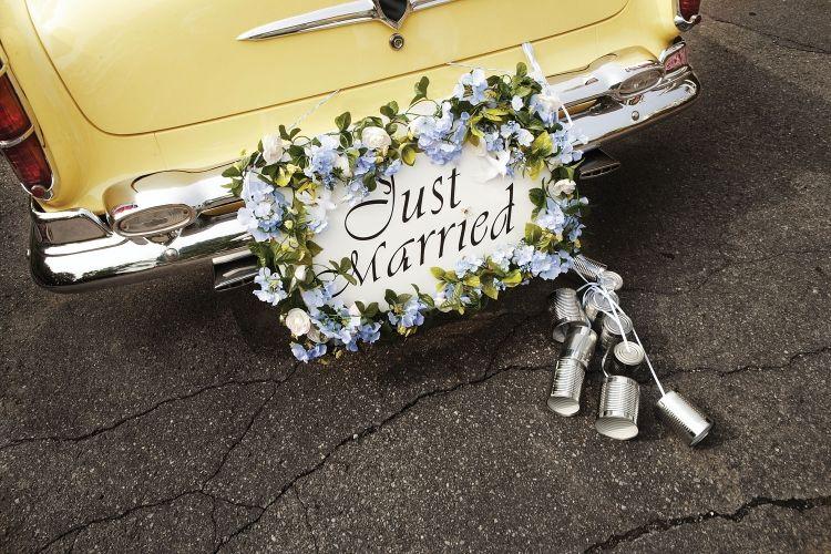 Autoschmuck-Hochzeit-Blumen-frisch-verheiratet-Tabelle | Hochzeit ...