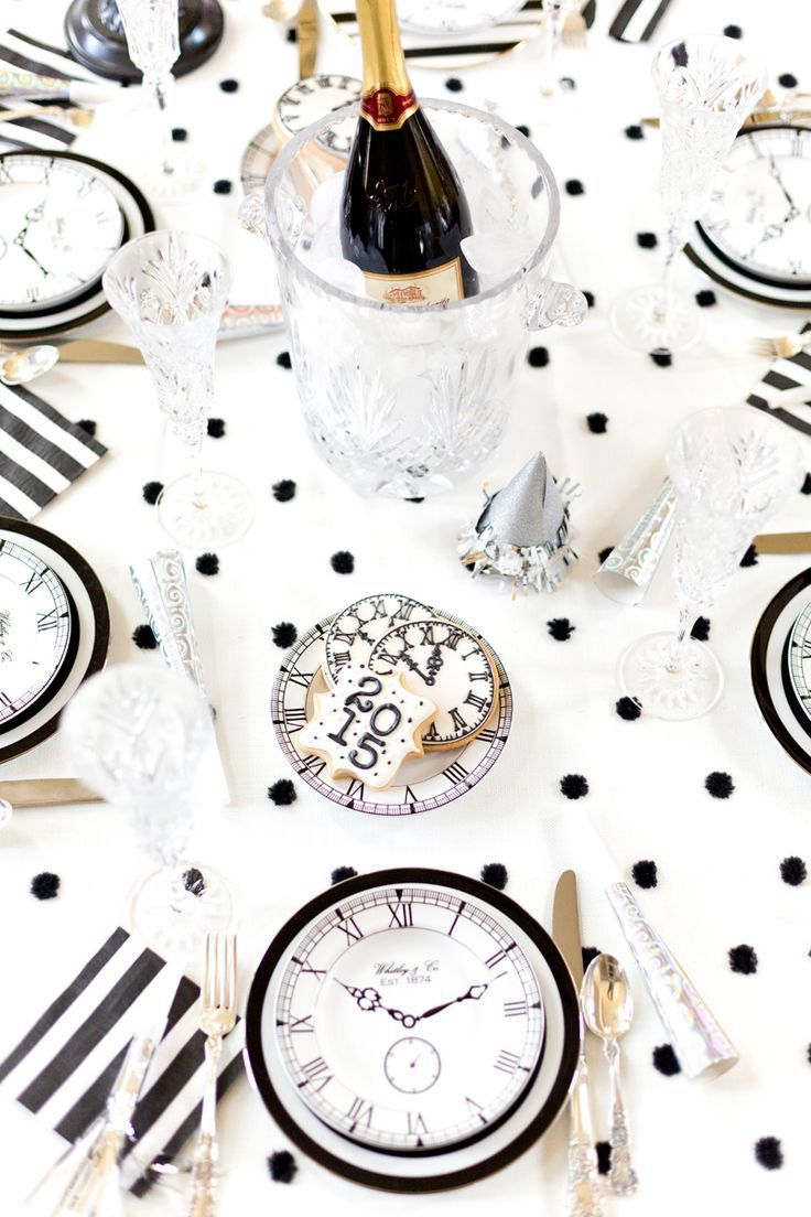 black white and gold new years ever party theme yes please beautiful table design by pizzazzerie
