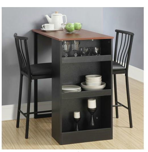 Pub Counter Kitchen Bar Table Set Storage Wine Cellar Dining Room Bistro Stools