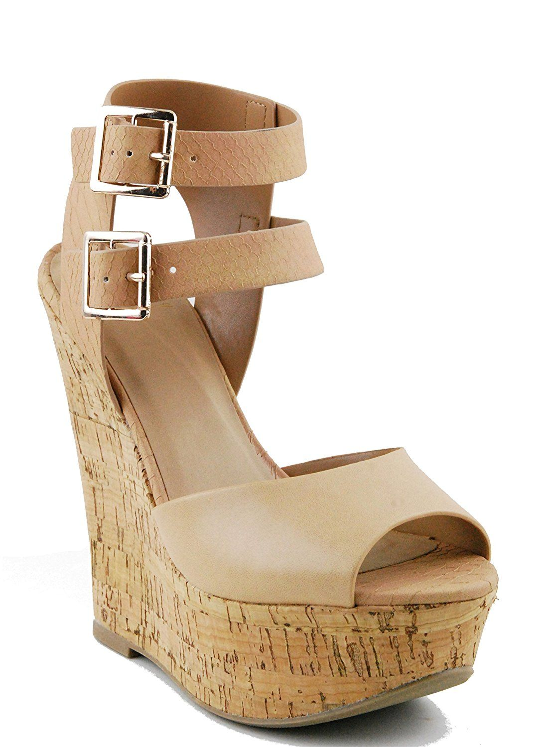 47869517307 Cobber-S Womens Ankle Strap Double Buckle Wedge Platform Sandals Wooden  Heels Shoes NEW     For more information
