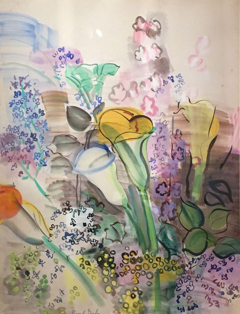 Bouquet D Arums Et Fleurs Des Champs Vers 1942 Gouache Sur