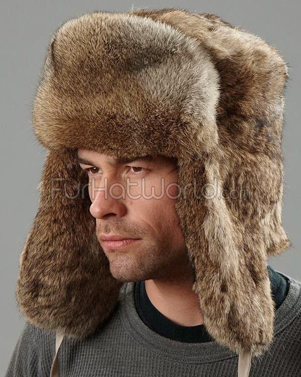 Brown Rabbit Fur Russian Ushanka Hat for Men in 2019  9254c1afea3e