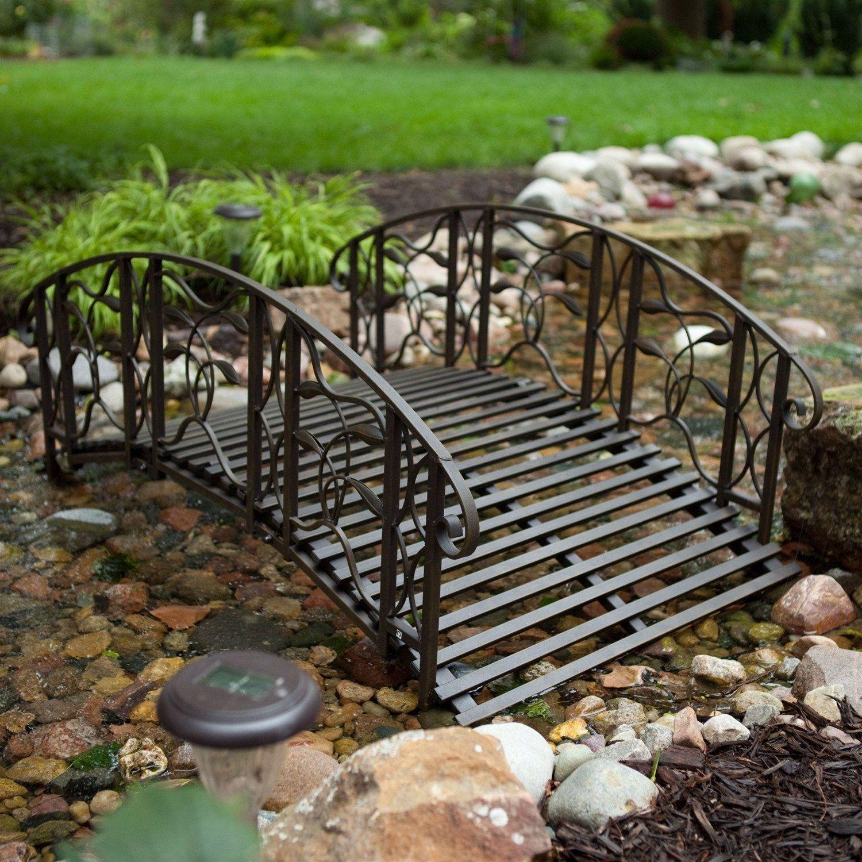 4 Foot Steel Frame Metal Garden Bridge In Rustic Weathered