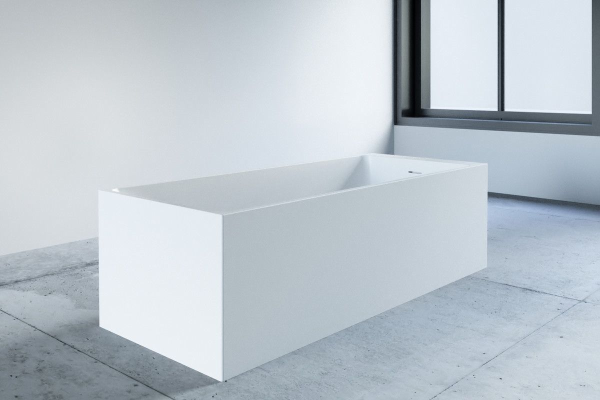 Freistehende Badewanne Eckig Kubiko Matt Oder Glanz 169x69x50 Cm
