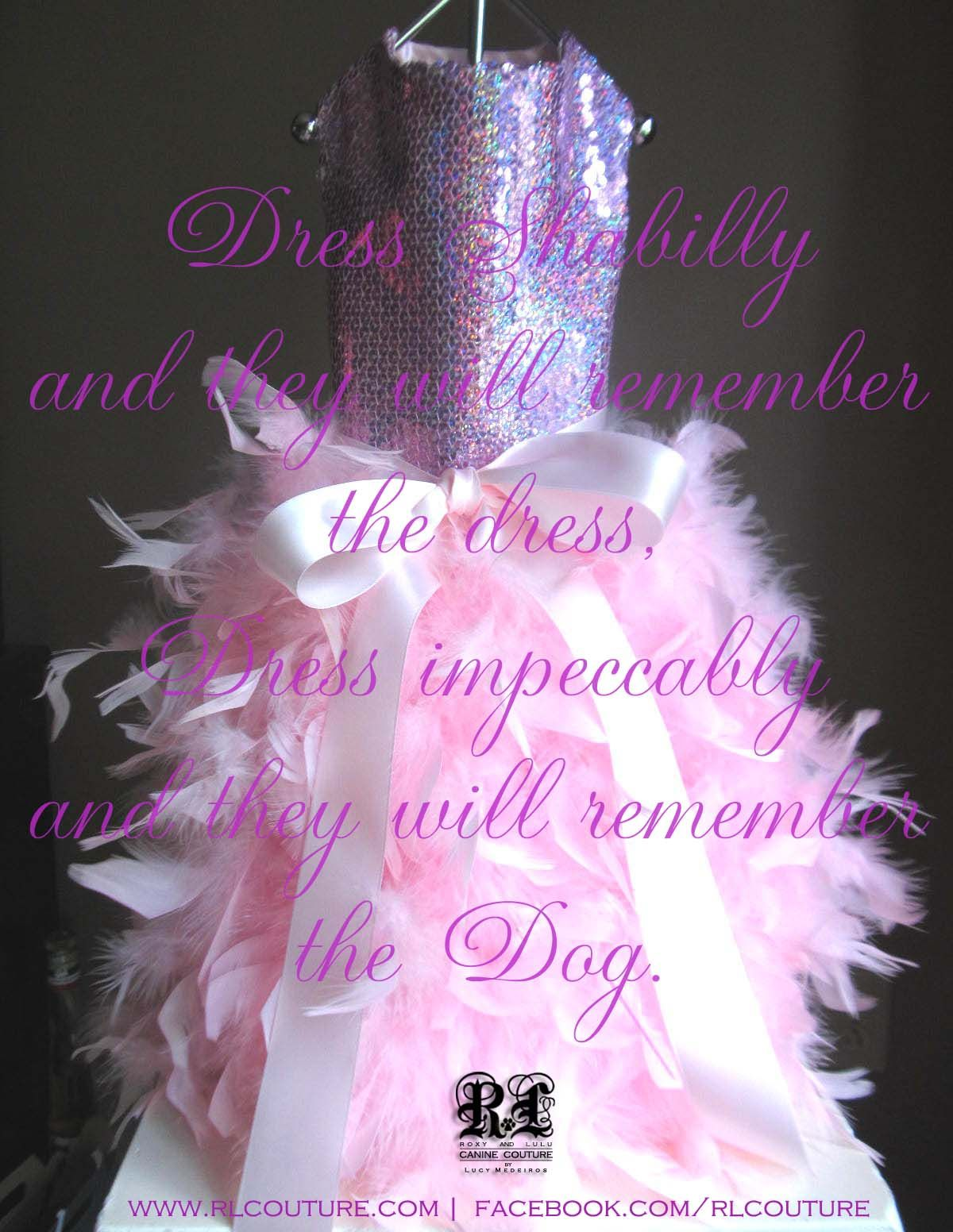Dress shabilly and they will remember the dress. Dress impeccably and the will remember the Dog. www.lucymedeiros.com