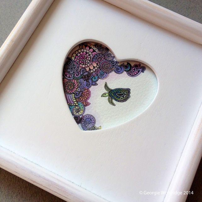 'Sea turtle and shells' Framed artwork