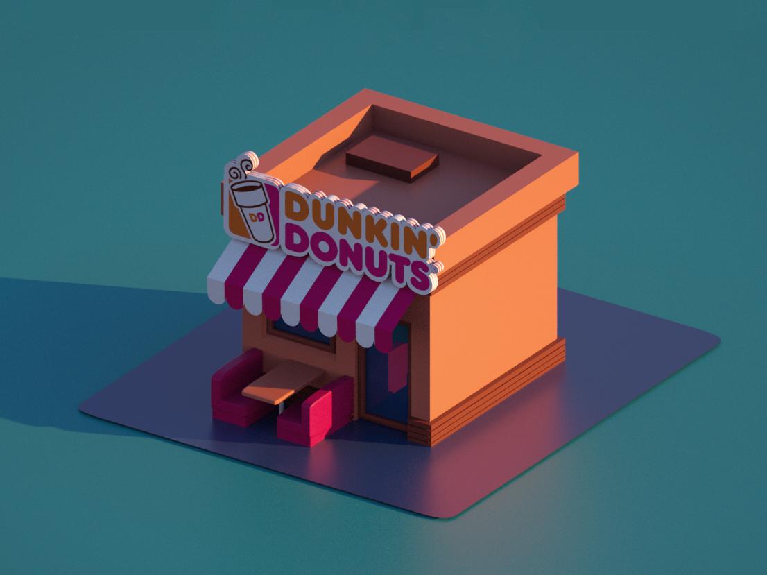 3d Dunkin Donuts Kiosk Dunkin Donuts Dunkin Kiosk Design
