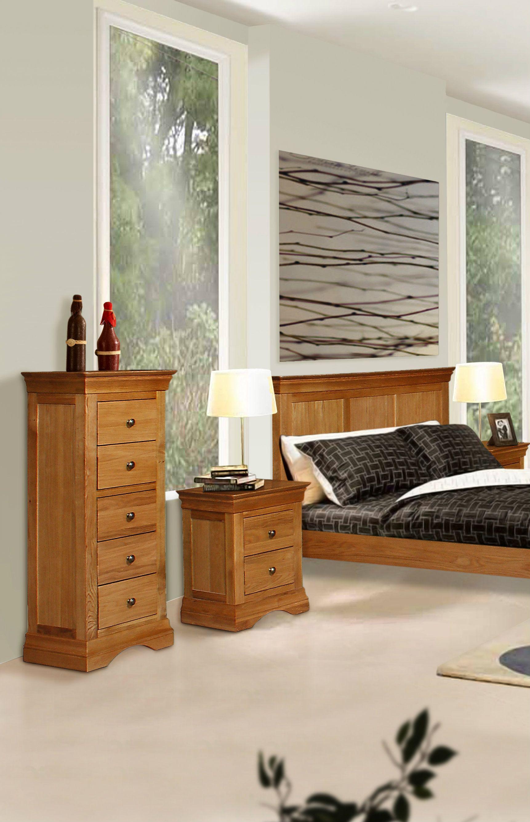 Durant Oak Tallboy, Bedside Locker & Traditional French