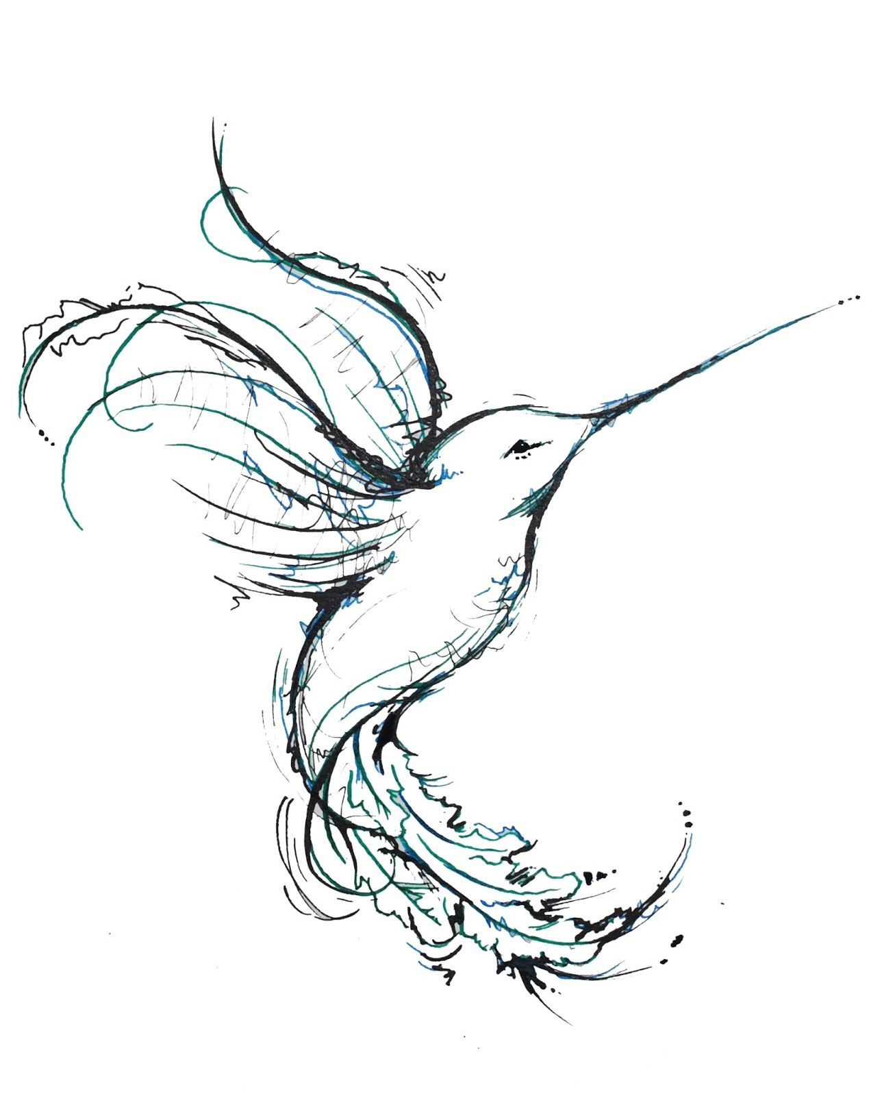 unique hummingbird tattoos | just a quick ink drawing of a cute