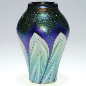 Humler & Nolan  Jeremiah Lotton Cypriot shouldered vase with white leaves pulledfrom the base. H