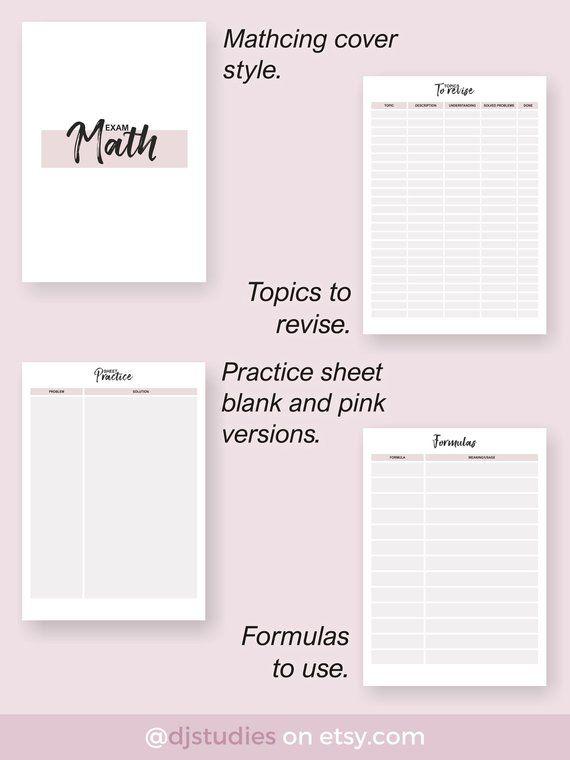 Math exam student printable, math exam planner, student planner