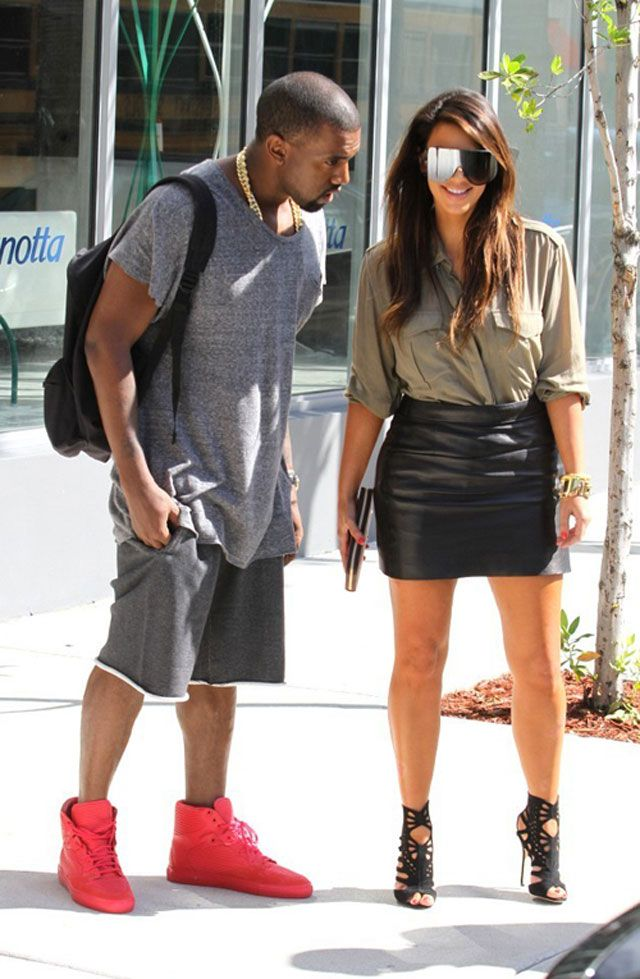 9e6d78c428e397 Kanye West wearing the Balenciaga Cambure Red Red Celebrity Sneakers
