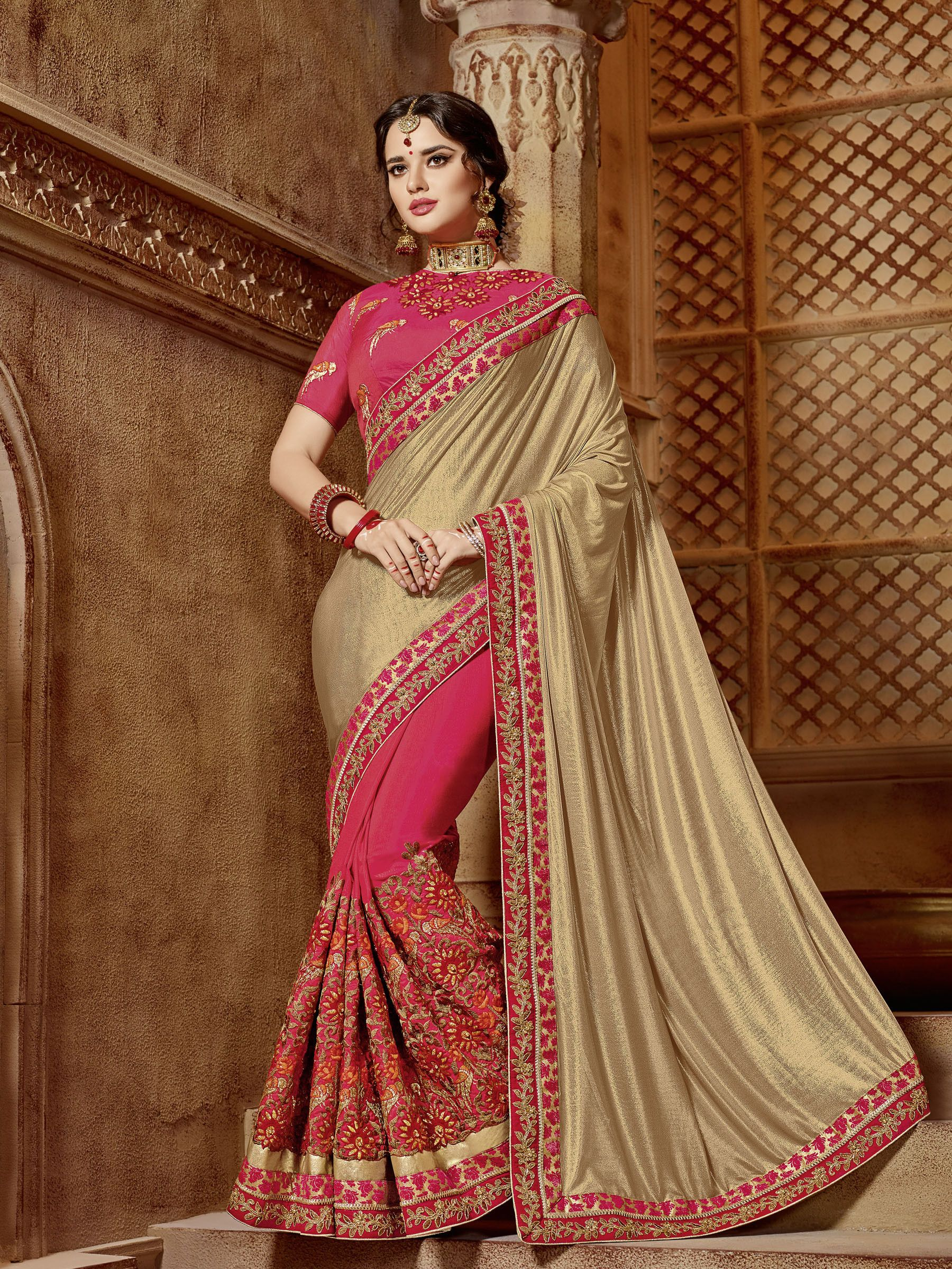 81a73fbf38 Buy online gold and red colour Designer Heavy work Wedding Saree at  joshindia #weddings #bride #saree #design #designers #designersaree